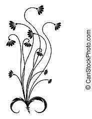 czarnoskóry, kwiat, sylwetka, white.
