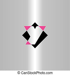 czarnoskóry, litera y, logo, magenta, ikona