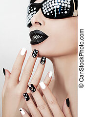 czarnoskóry, makijaż, i, manicure.