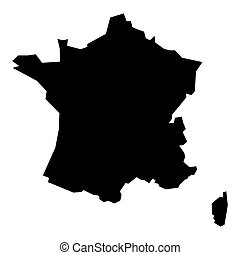 czarnoskóry, mapa, sylwetka, francja