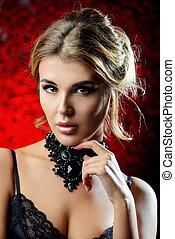 czarnoskóry, naszyjnik, biżuteria