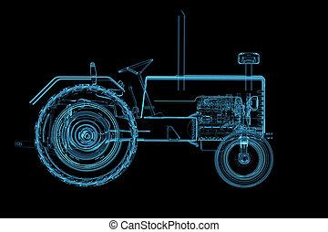 czarnoskóry, odizolowany, traktor