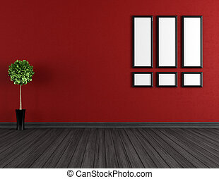 czarnoskóry, opróżniać, czerwony, pokój