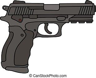 czarnoskóry, pistolet ręczny, ostatni