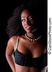 czarnoskóry, portret, sexy, kobieta
