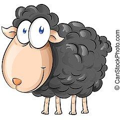 czarnoskóry, rysunek, sheep