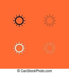 czarnoskóry, słońce, ikona, komplet, biały