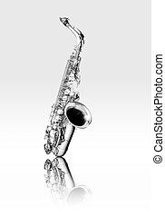 czarnoskóry, saksofon, altówka, instrument, biały, dęty instrument drewniany