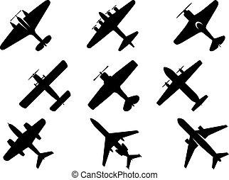 czarnoskóry, samolot, sylwetka, ikony