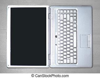 czarnoskóry, screen., przestrzeń, zamknięcie, biały, kopia, up.open, czysty, laptop, fotografia