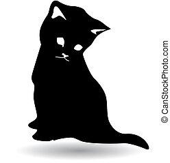 czarnoskóry, sylwetka, kot