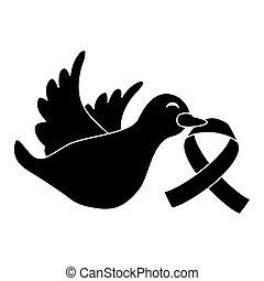 czarnoskóry, symbol, gołębica, rak, dziób