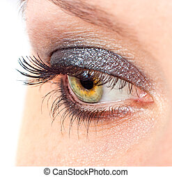 czarnoskóry, szczelnie-do góry, oko