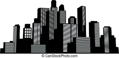 czarnoskóry, wektor, cityscapes, sylwetka, zabudowanie