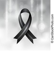 czarnoskóry, wstążka, opłakiwanie, melanoma, symbol