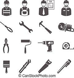 czarnoskóry, zbudowanie, narzędzia, komplet, pracownicy, ikony