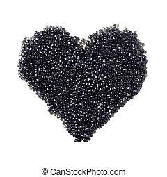 czarny kawior, serce