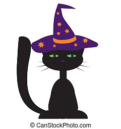 czarny kot, dla, halloween, projektować