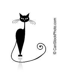 czarny kot, sylwetka, dla, twój, projektować