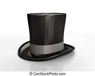 czarny szczyt, kapelusz, odizolowany, na białym, tło