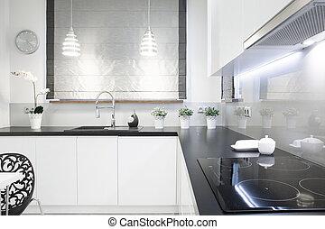 czarny szczyt, w, biały, kuchnia