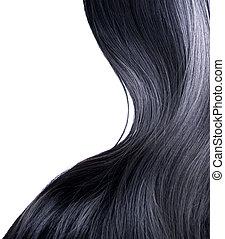 czarny włos, na, biały