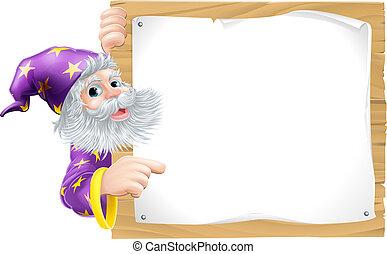 czarodziej, i, drewniany, znak