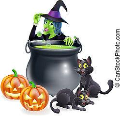 czarownica, halloween, rysunek, scena
