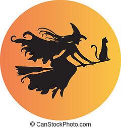 czarownica, kij od miotły