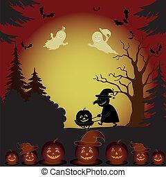 czarownica, krajobraz, halloween, dynie, duchy