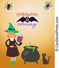 czarownica, nietoperz, magik, kocioł, zrobienie, halloween, wektor, kot, rysunek, mały, czarnoskóry, kostium, pająki, sieć, magia, dziewczyna, koźlę, tło., illustration., potion