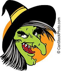 czarownica, rysunek, twarz