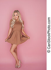czarowny, blondynka, miniskirt