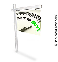 czas, żeby kupić, zegar, -, dom, dla sprzedaży znaczą
