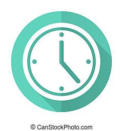 czas, desgn, błękitne tło, ikona, koło, cień, płaski, długi, biały