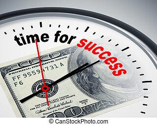 czas, dla, powodzenie