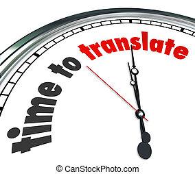 czas, do, tłumaczyć, słówko, na, niejaki, zegarowa twarz,...