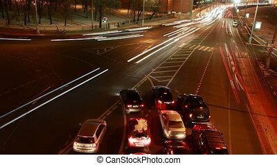 czas, nowoczesny, crossroads, night., przelany, szosa, lapse...