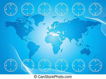 czas, okolica, mapa, świat