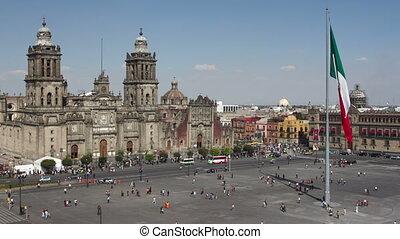 czas-upływ, olbrzym, zocalo, miasto, środek, meksyk bandera...