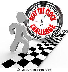 czasowy zegar, bębnić, współzawodnictwo, wyzwanie, ...