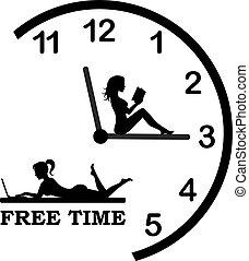 czasowy zegar, rozluźnić, odpoczynek