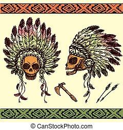 czaszka, amerykanka, szef, indianin, ludzki, tomahawks, fryzura, krajowiec
