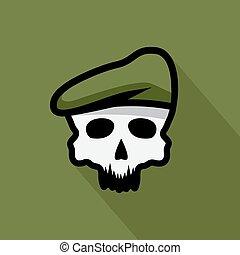 czaszka, beret, wektor, projektować, szablon, wojskowy