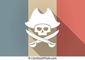 czaszka, długi, francja bandera, wektor, cień, pirat, ikona