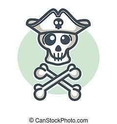 czaszka, dwa, projektować,  logo, Kość, Krzyżowany, kapelusz, pirat