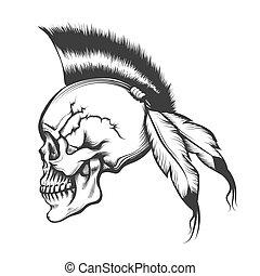 czaszka, fryzura, irokez, rytownictwo, ilustracja