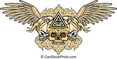 czaszka, grunge, marynarka, herb