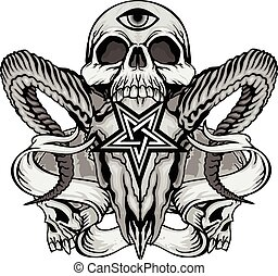 czaszka, herb, grunge, marynarka