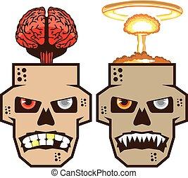 czaszka, jądrowy, n, mózg, w, podmuch wiatru